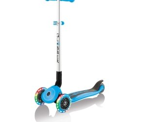 Globber Primo Foldable Scooter with Lights Sky Blue Side Angle