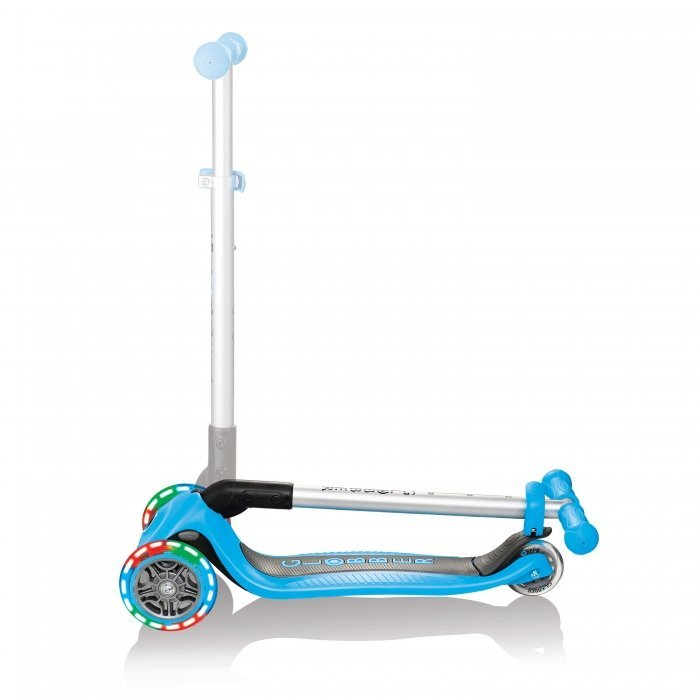 Globber Primo Foldable Scooter with Lights Sky Blue Folded