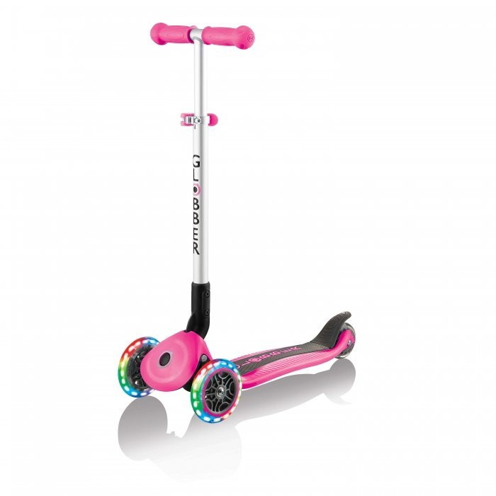 Globber Primo Foldable Scooter with Lights Neon Pink Side Angle