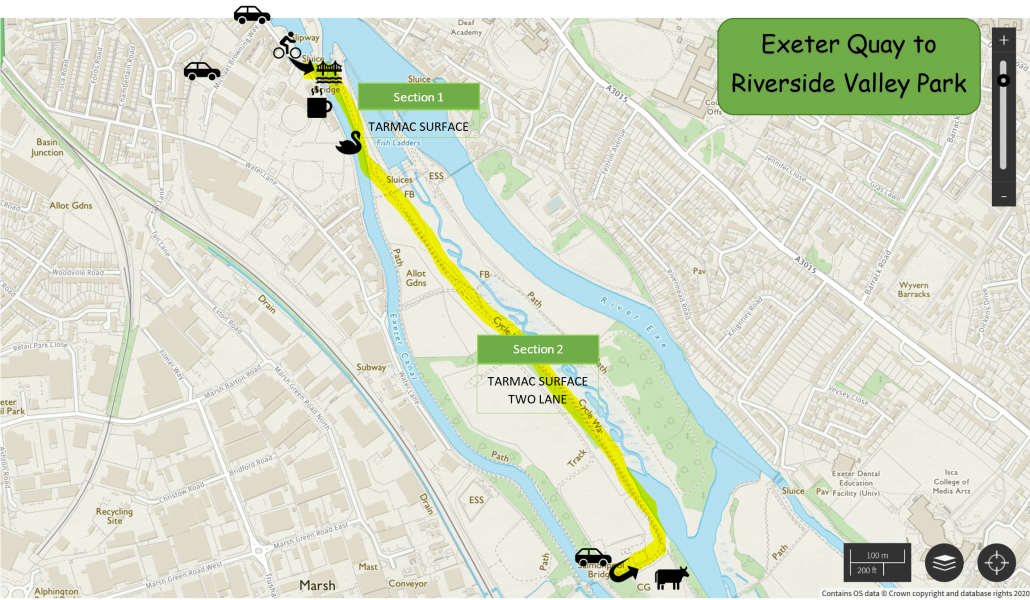 Exeter Quay to Riverside Valley Park Map