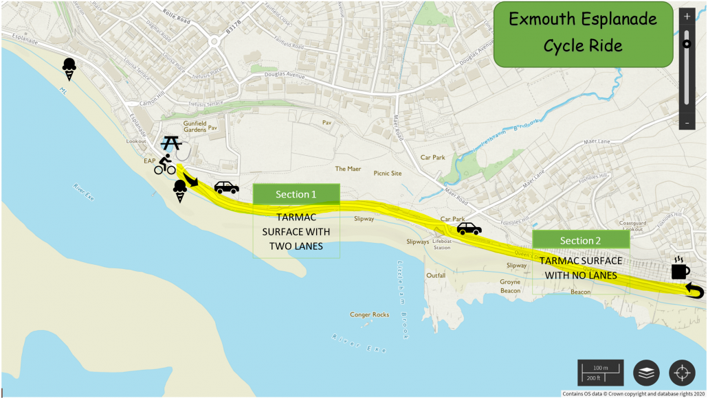 Exmouth Esplanade Cycle Ride Map