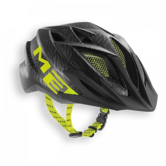 MET Crackerjack Kids Helmet Black Texture/Green